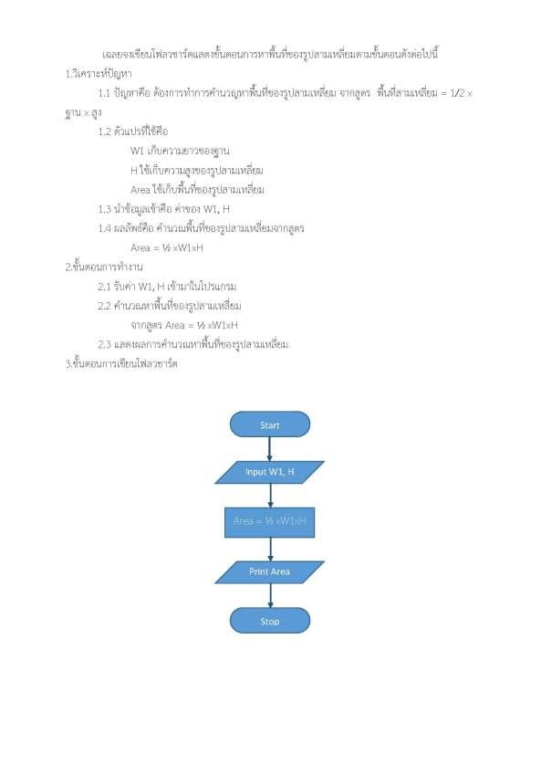 สอบโฟลวชาร์ต จงเขียนโฟลวชาร์ตแสดงขั้นตอนการหาพื้นที่ของรูปสามเหลี่ยมตามขั้นตอนดังต่อไปนี้_Page_2